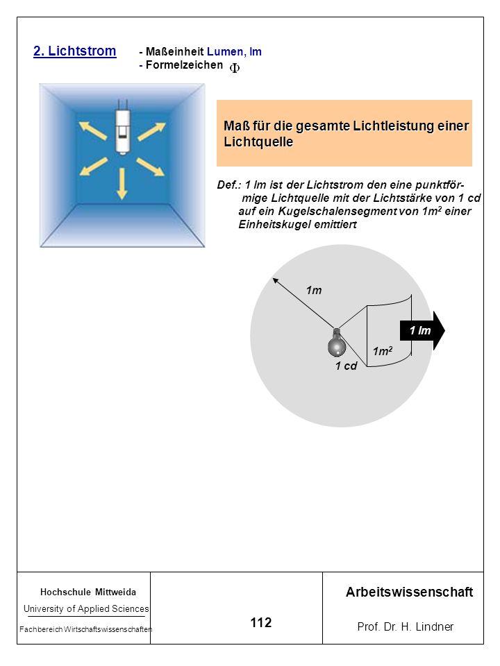 Hochschule Mittweida University of Applied Sciences Fachbereich Wirtschaftswissenschaften Arbeitswissenschaft Prof. Dr. H. Lindner 111 Lichtstärkevert