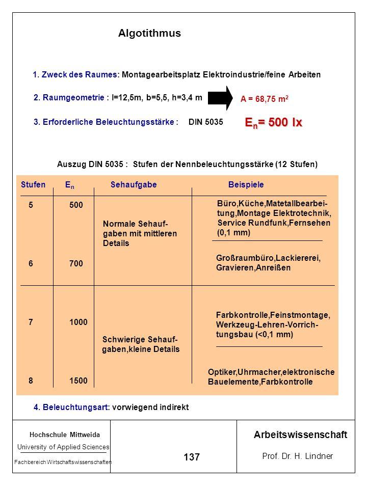 Hochschule Mittweida University of Applied Sciences Fachbereich Wirtschaftswissenschaften Arbeitswissenschaft Prof. Dr. H. Lindner 136 5.4 Dimensionie