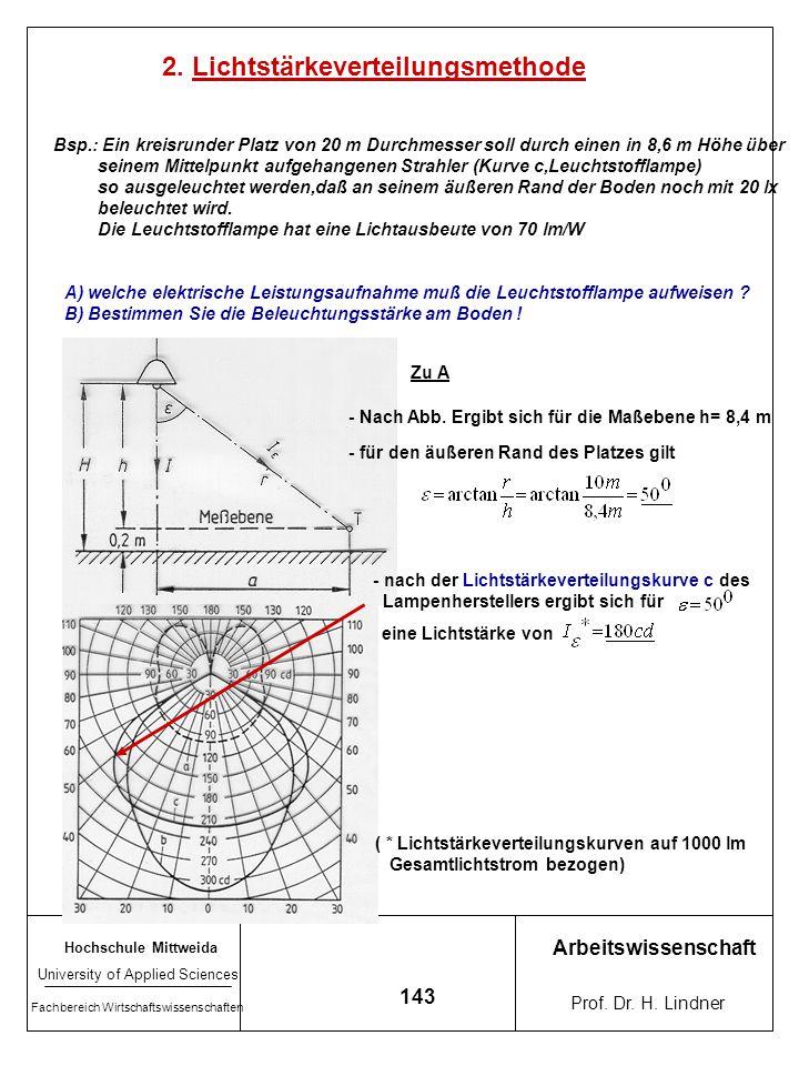 Hochschule Mittweida University of Applied Sciences Fachbereich Wirtschaftswissenschaften Arbeitswissenschaft Prof. Dr. H. Lindner 142