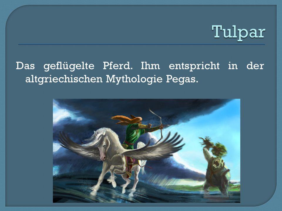 Das geflügelte Pferd. Ihm entspricht in der altgriechischen Mythologie Pegas.