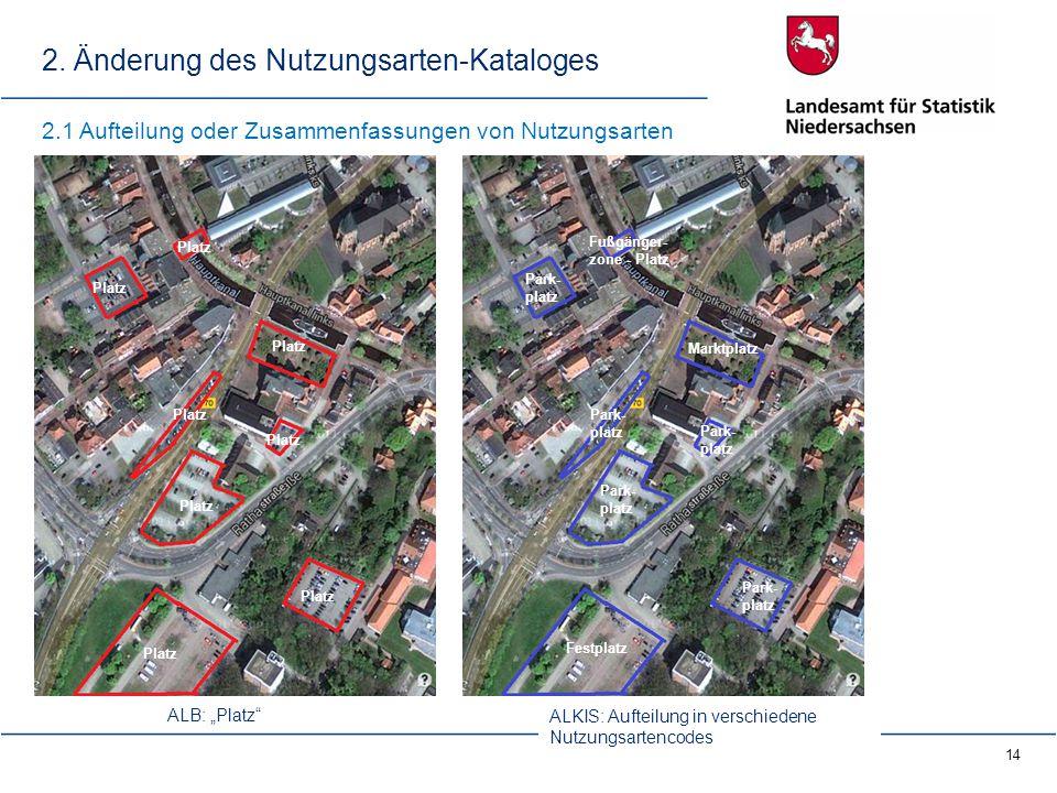 14 2. Änderung des Nutzungsarten-Kataloges Platz Park- platz Fußgänger- zone - Platz Park- platz Marktplatz Festplatz 2.1 Aufteilung oder Zusammenfass