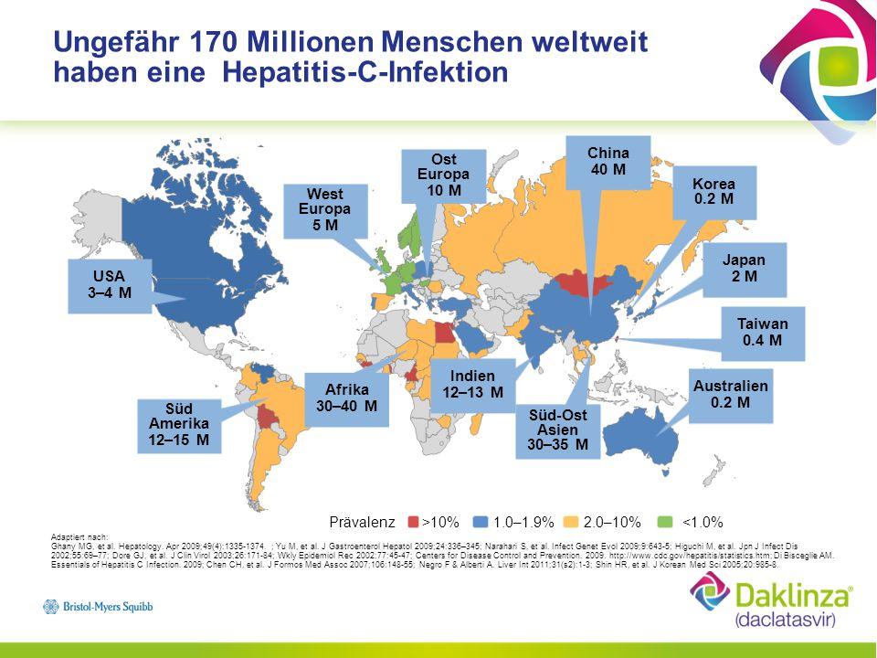 HCV vom Genotyp 1 ist weltweit am stärksten vertreten Adaptiert nach: Negro F, et al.