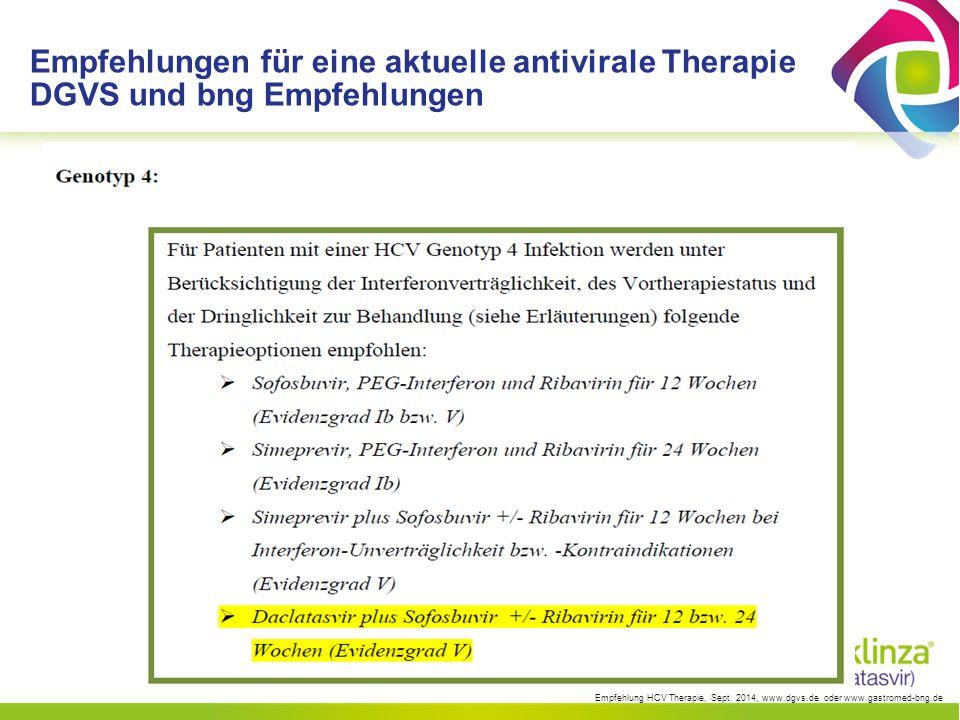 EASL Guidelines Empfehlungen für Genotyp 1, 4, 5, 6 Simeprevir (Olysio ® ) SMV + Peg + RBV 24 Wochen, Naive/Relapser 48 Wochen Part./Null (GT 1, Ø Q80K, GT 4) Sofosbuvir (Sovaldi ® ) SOF + Peg + RBV 12 Wochen (GT 1, 4, 5, 6) Simeprevir + Sofosbuvir SMV + SOF 12 Wochen (ev.