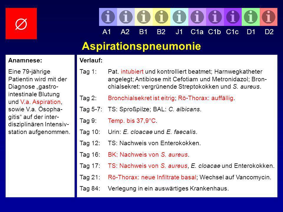 Verlauf: Tag 1:Pat. intubiert und kontrolliert beatmet; Harnwegkatheter angelegt; Antibiose mit Cefotiam und Metronidazol; Bron- chialsekret: vergrüne