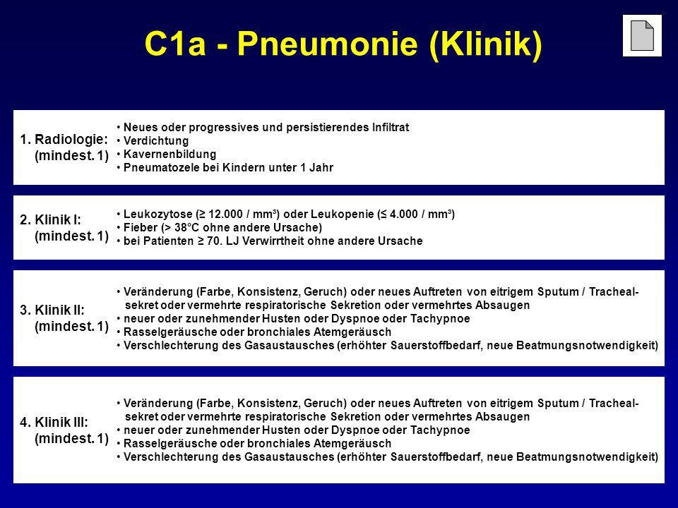 C1a - Pneumonie (Klinik) 4. Klinik III: (mindest. 1) Veränderung (Farbe, Konsistenz, Geruch) oder neues Auftreten von eitrigem Sputum / Tracheal- sekr