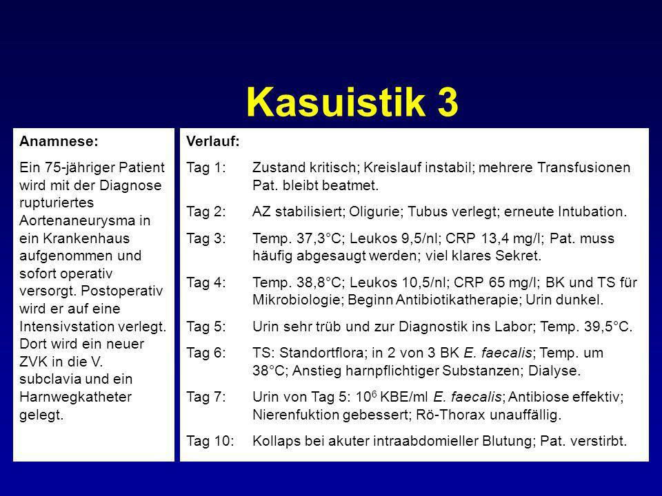 Kasuistik 3 Anamnese: Ein 75-jähriger Patient wird mit der Diagnose rupturiertes Aortenaneurysma in ein Krankenhaus aufgenommen und sofort operativ ve
