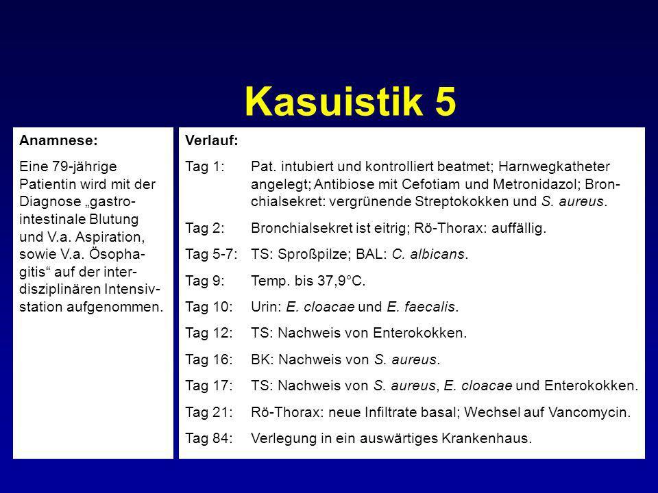 Kasuistik 5 Verlauf: Tag 1:Pat. intubiert und kontrolliert beatmet; Harnwegkatheter angelegt; Antibiose mit Cefotiam und Metronidazol; Bron- chialsekr