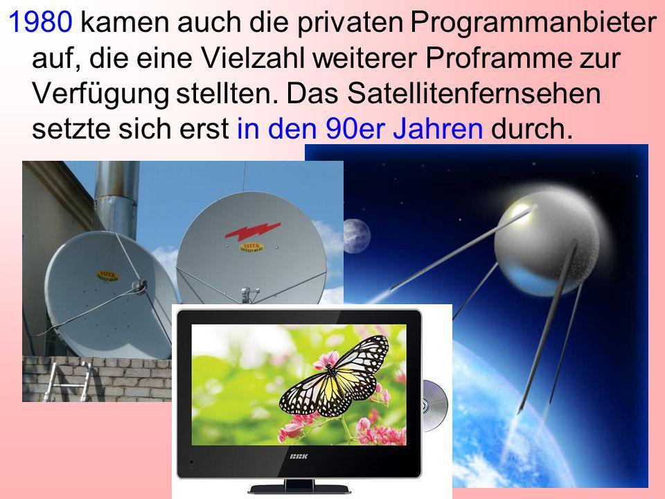 1980 kamen auch die privaten Programmanbieter auf, die eine Vielzahl weiterer Proframme zur Verfügung stellten. Das Satellitenfernsehen setzte sich er