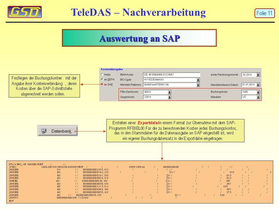 TeleDAS – Nachverarbeitung Auswertung an SAP Folie 11