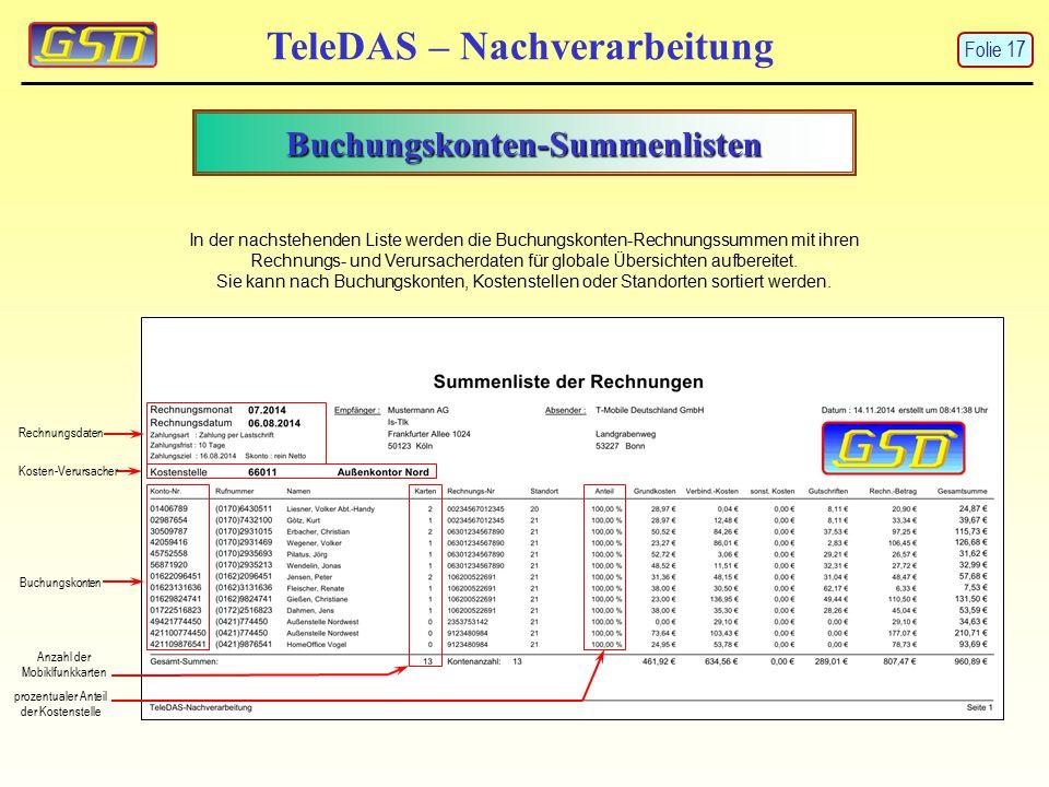 Buchungskonten-Summenlisten TeleDAS – Nachverarbeitung Buchungskonten prozentualer Anteil der Kostenstelle Kosten-Verursacher Rechnungsdaten In der nachstehenden Liste werden die Buchungskonten-Rechnungssummen mit ihren Rechnungs- und Verursacherdaten für globale Übersichten aufbereitet.