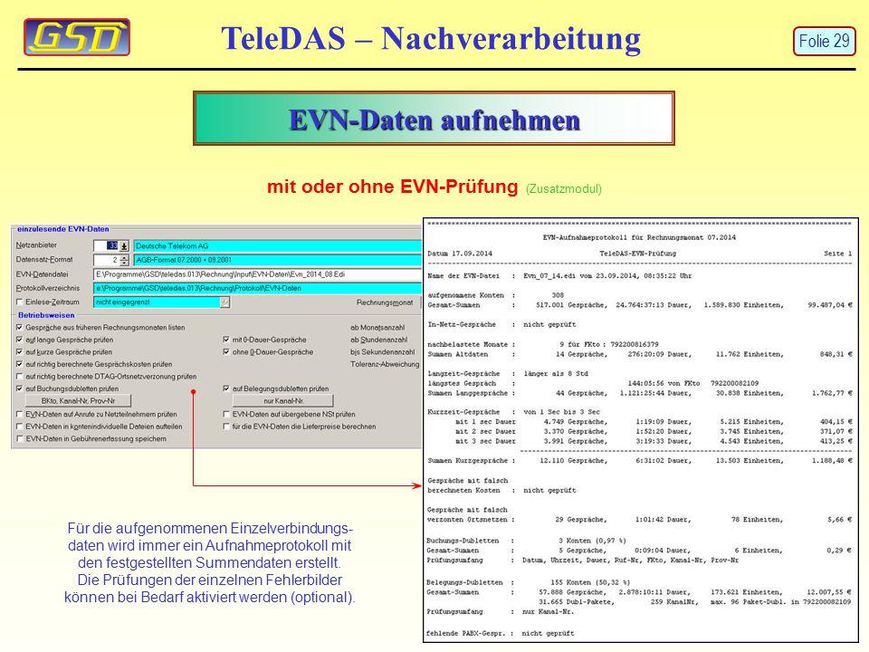 EVN-Daten aufnehmen TeleDAS – Nachverarbeitung mit oder ohne EVN-Prüfung (Zusatzmodul) Für die aufgenommenen Einzelverbindungs- daten wird immer ein A