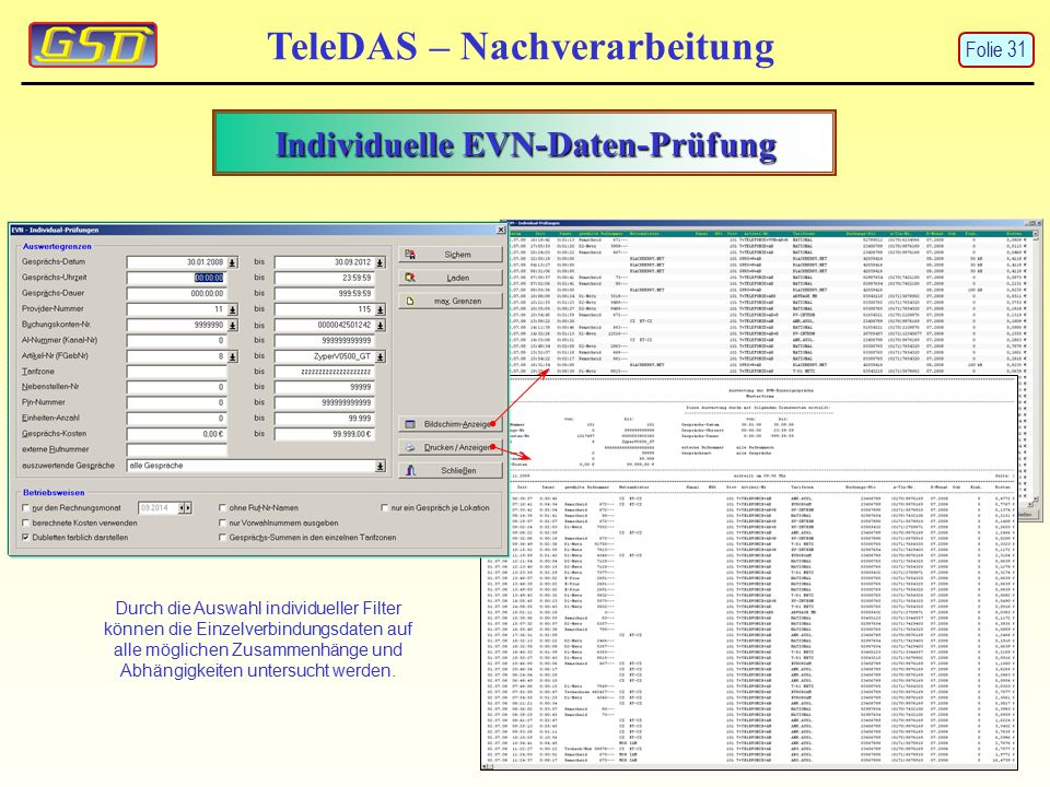 Individuelle EVN-Daten-Prüfung TeleDAS – Nachverarbeitung Durch die Auswahl individueller Filter können die Einzelverbindungsdaten auf alle möglichen Zusammenhänge und Abhängigkeiten untersucht werden.