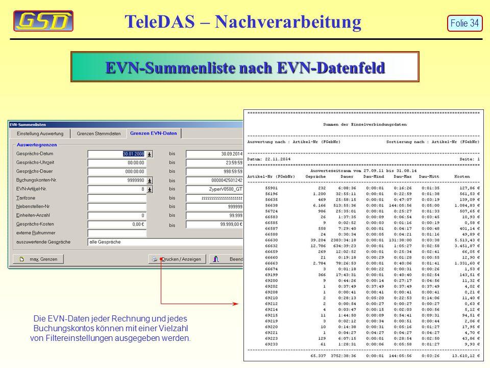 EVN-Summenliste nach EVN-Datenfeld TeleDAS – Nachverarbeitung Die EVN-Daten jeder Rechnung und jedes Buchungskontos können mit einer Vielzahl von Filt