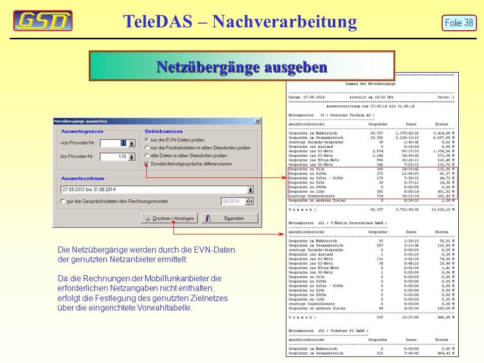 Netzübergänge ausgeben TeleDAS – Nachverarbeitung Die Netzübergänge werden durch die EVN-Daten der genutzten Netzanbieter ermittelt.