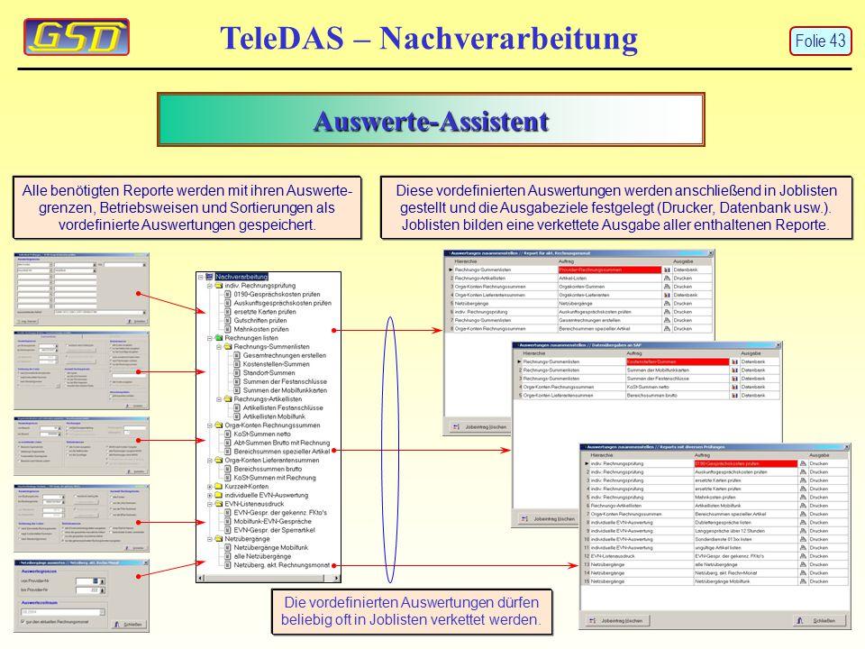 Auswerte-Assistent TeleDAS – Nachverarbeitung Alle benötigten Reporte werden mit ihren Auswerte- grenzen, Betriebsweisen und Sortierungen als vordefinierte Auswertungen gespeichert.