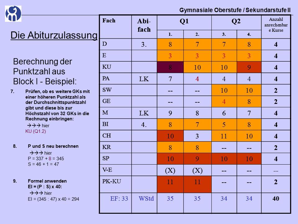 Gymnasiale Oberstufe / Sekundarstufe II Die Abiturzulassung Berechnung der Punktzahl aus Block I - Beispiel: 7.Prüfen, ob es weitere GKs mit einer höheren Punktzahl als der Durchschnittspunktzahl gibt und diese bis zur Höchstzahl von 32 GKs in die Rechnung einbringen:  hier KU (Q1.2) Fach Abi- fach Q1Q2 Anzahl anrechenbar e Kurse 1.2.3.4.