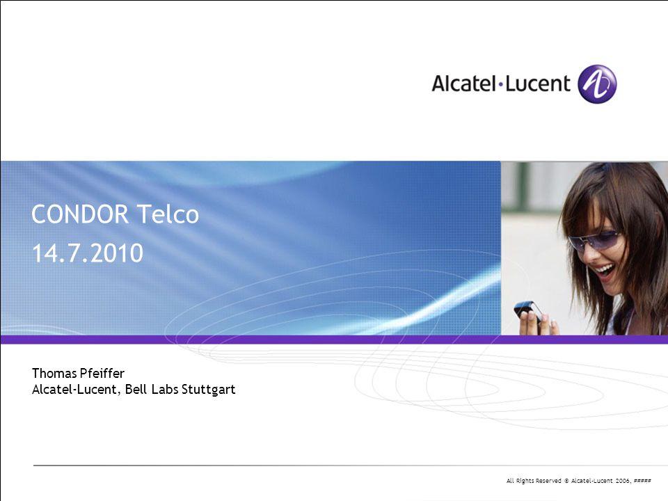 All Rights Reserved © Alcatel-Lucent 2006, ##### 2 | Presentation Title | Month 2006 Agenda Projekt-Organisation - offene APs vom Kick-Off-Meeting - Projektplanung (Reminder) Zwischenstand der Arbeiten - ALU - HHI-BM + PN - JDSU - HHI-PC - UKa-IPQ - UKa-ITIV - Leoni Diskussion, aob