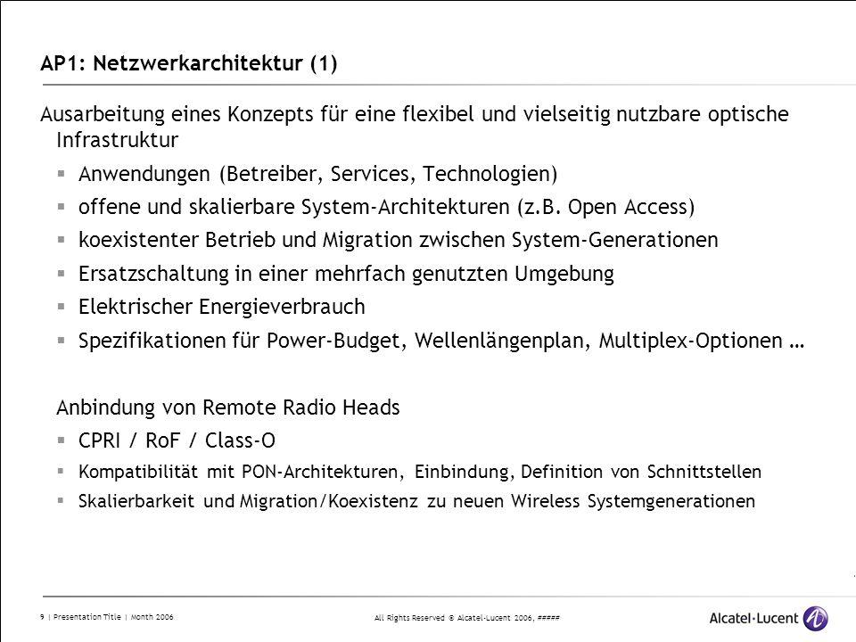 All Rights Reserved © Alcatel-Lucent 2006, ##### 10 | Presentation Title | Month 2006 AP1: Netzwerkarchitektur (2) T1.1 Netzsicht, Anwendungen, Betriebermodelle M111 (Q2) Ziele und Anwendungen des Netz-Designs M112, 113 (Q6, Q12) Aktualisierung von M111 T1.2: Optische Netzarchitektur und Technologiespezifikationen M121 (Q2) Netzarchitektur und Komponenten-Spezifikation M122 (Q6) Überprüfung und Aktualisierung der Inhalte von M121 T1.3 Architektur zur Anbindung von Remote Radio Heads und Class-O M131 (Q2) Anbindung von Class-O M132 (Q6) Zentrale Carrier Generierung und Einbindung in CoMP Architektur T1.4: Backhauling-Architekturen für CoMP M144 (Q2) Anforderungsprofile für CoMP-Betrieb M145 (Q8) Netzarchitekturen und Topologien für die CoMP Hochgeschwindigkeits- vernetzung M146 (Q11) Vergleich der Netz- und Multiplexarchitekturen und Auswahl