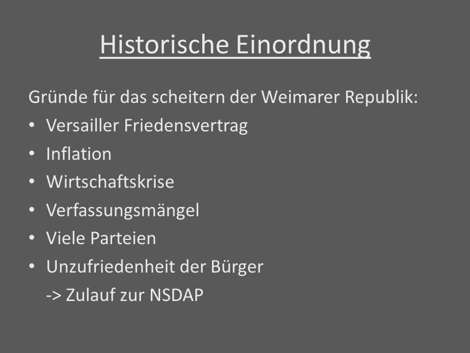 Historische Einordnung Gründe für das scheitern der Weimarer Republik: Versailler Friedensvertrag Inflation Wirtschaftskrise Verfassungsmängel Viele P