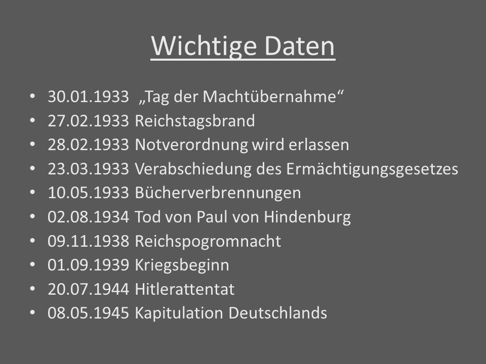 """Wichtige Daten 30.01.1933 """"Tag der Machtübernahme"""" 27.02.1933 Reichstagsbrand 28.02.1933 Notverordnung wird erlassen 23.03.1933 Verabschiedung des Erm"""