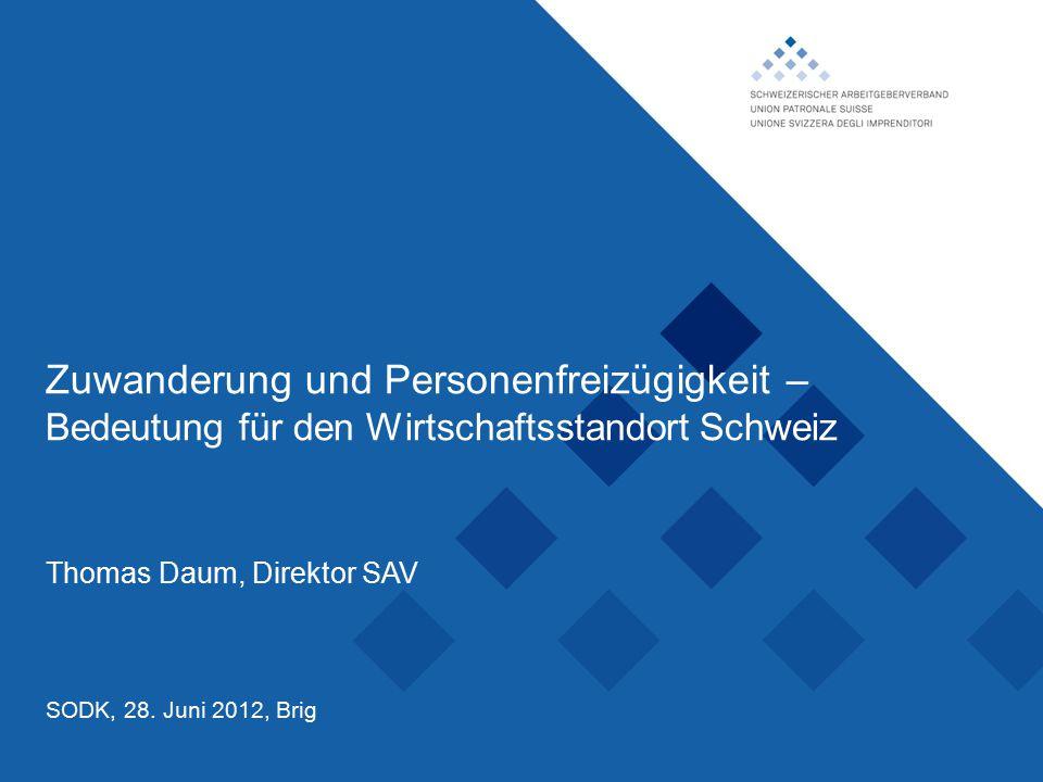 Schweizerischer Arbeitgeberverband, Zuwanderung und Personenfreizügigkeit – Bedeutung für den Wirtschaftsstandort Schweiz Thomas Daum, Direktor SAV SODK, 28.