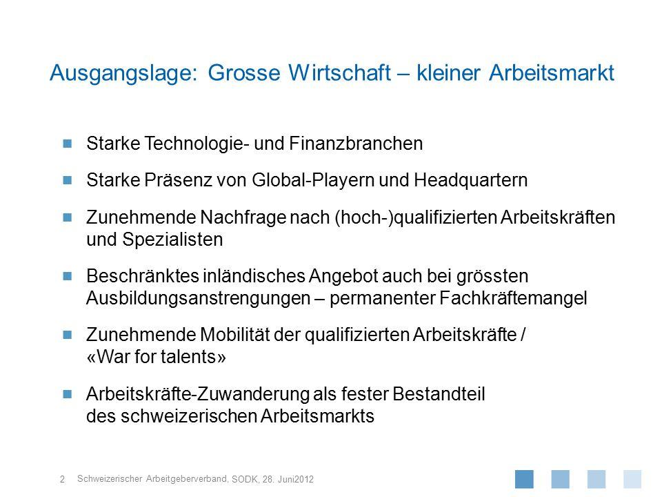Schweizerischer Arbeitgeberverband,  Starke Technologie- und Finanzbranchen  Starke Präsenz von Global-Playern und Headquartern  Zunehmende Nachfra