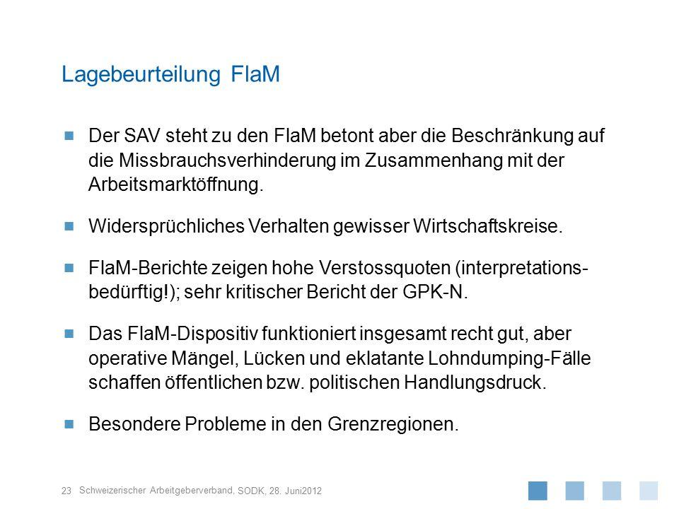 Schweizerischer Arbeitgeberverband,  Der SAV steht zu den FlaM betont aber die Beschränkung auf die Missbrauchsverhinderung im Zusammenhang mit der A