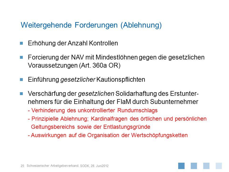 Schweizerischer Arbeitgeberverband,  Erhöhung der Anzahl Kontrollen  Forcierung der NAV mit Mindestlöhnen gegen die gesetzlichen Voraussetzungen (Art.