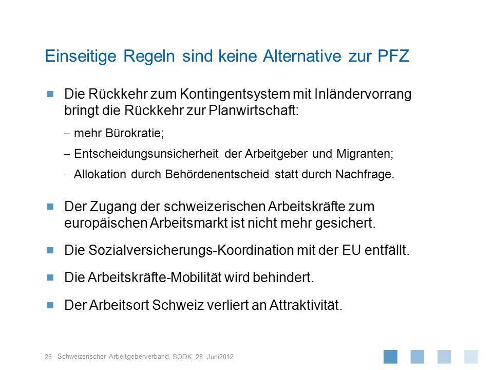 Schweizerischer Arbeitgeberverband,  Die Rückkehr zum Kontingentsystem mit Inländervorrang bringt die Rückkehr zur Planwirtschaft:  mehr Bürokratie;