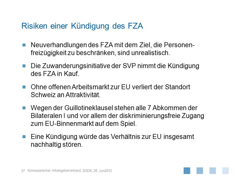 Schweizerischer Arbeitgeberverband,  Neuverhandlungen des FZA mit dem Ziel, die Personen- freizügigkeit zu beschränken, sind unrealistisch.  Die Zuw