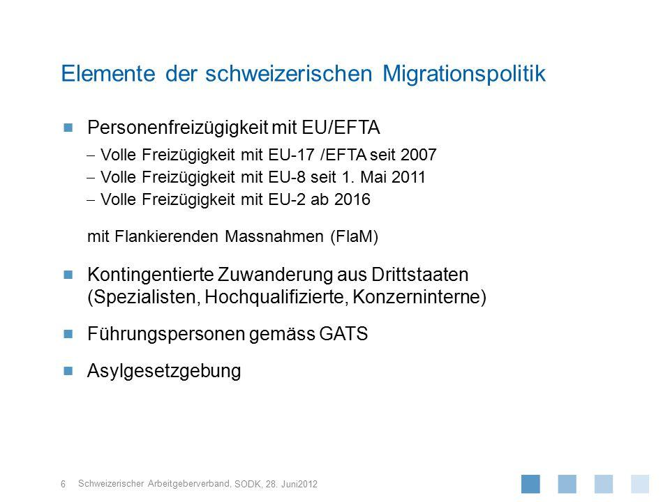 Schweizerischer Arbeitgeberverband,  Neuverhandlungen des FZA mit dem Ziel, die Personen- freizügigkeit zu beschränken, sind unrealistisch.