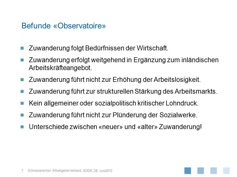 Schweizerischer Arbeitgeberverband,  Zuwanderung folgt Bedürfnissen der Wirtschaft.  Zuwanderung erfolgt weitgehend in Ergänzung zum inländischen Ar