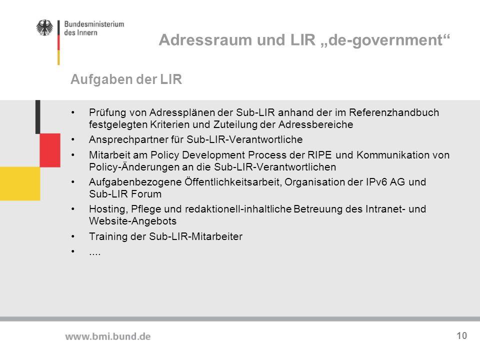 Prüfung von Adressplänen der Sub-LIR anhand der im Referenzhandbuch festgelegten Kriterien und Zuteilung der Adressbereiche Ansprechpartner für Sub-LI