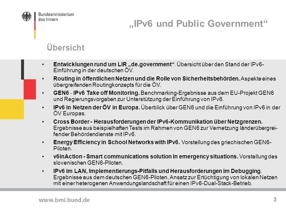 Deutschland Online Infrastruktur (DOI): Verbindungsnetz zwischen Bund, Ländern und Kommunen laut Artikel 91 c GG Bietet übergreifende Dienste (DNS, sichere eMail, PKI, Videokonferenzen) Bund verantwortet seit Januar 2011 die Planung, Vergabe und Betriebsführung Operativer Betrieb durch BVA, Steuerung und Strategie durch BMI IPv6-fähige Infrastruktur: IPv4/IPv6 Dual Stack Backbone  zentrale Dienste  Sicherheitsgateway  Kryptosysteme ( , Dual-Stack ab ca.