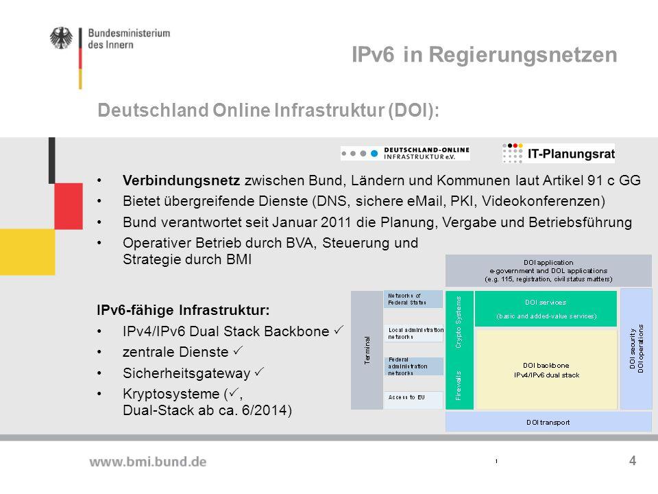 Netze der Bundesverwaltung Netze des Bundes (NdB) wurde mit einer IPv6-Infrastruktur konzipiert und entsprechend auf die neue Generation der IP-Adressen und - Technologien vorbereitet.