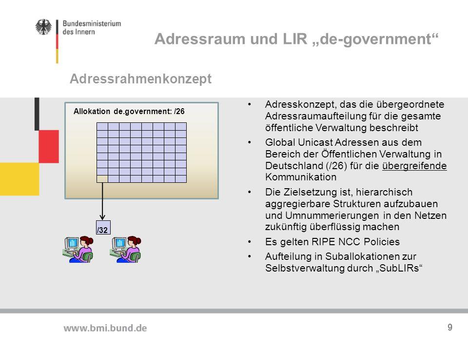 Allokation de.government: /26 /32 Adresskonzept, das die übergeordnete Adressraumaufteilung für die gesamte öffentliche Verwaltung beschreibt Global U
