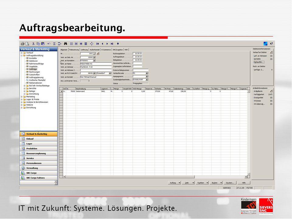 IT mit Zukunft: Systeme. Lösungen. Projekte. Auftragsbearbeitung.