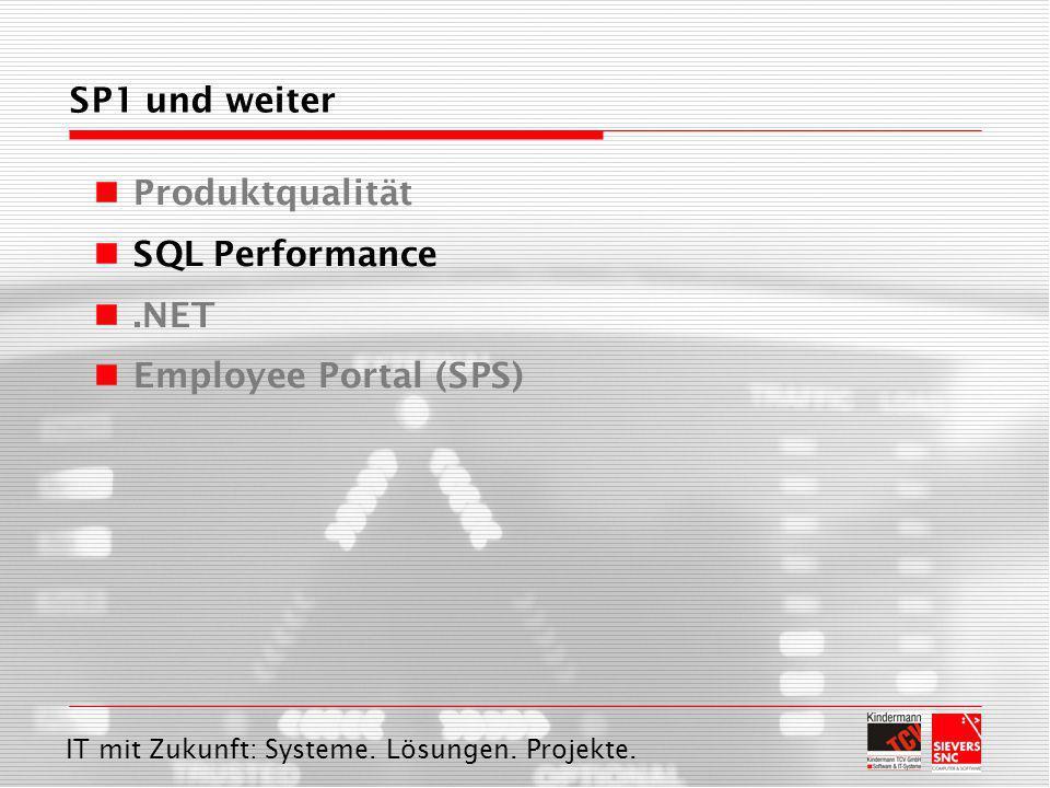 IT mit Zukunft: Systeme. Lösungen. Projekte. SP1 und weiter Produktqualität SQL Performance.NET Employee Portal (SPS)