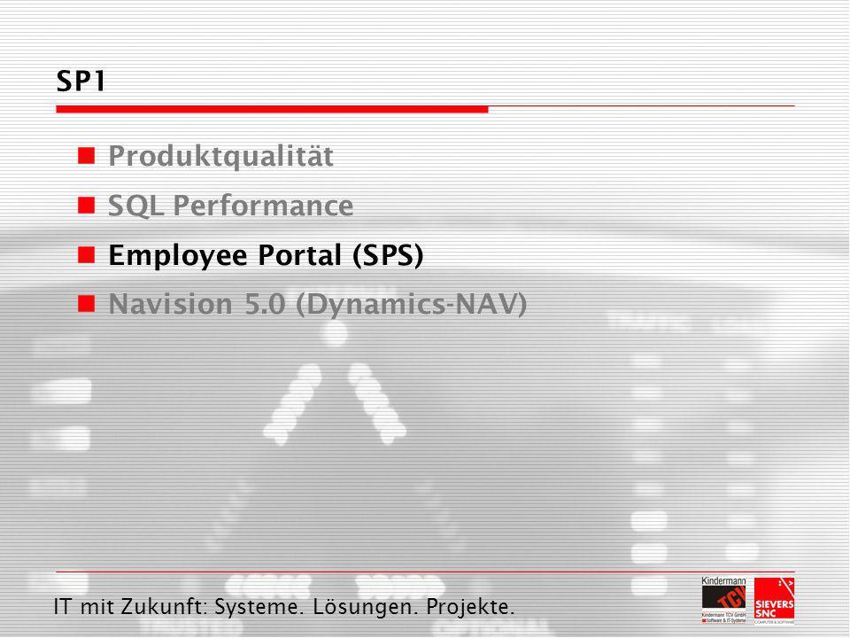 IT mit Zukunft: Systeme. Lösungen. Projekte. SP1 Produktqualität SQL Performance Employee Portal (SPS) Navision 5.0 (Dynamics-NAV)