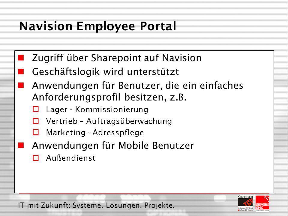 IT mit Zukunft: Systeme. Lösungen. Projekte. Navision Employee Portal Zugriff über Sharepoint auf Navision Geschäftslogik wird unterstützt Anwendungen