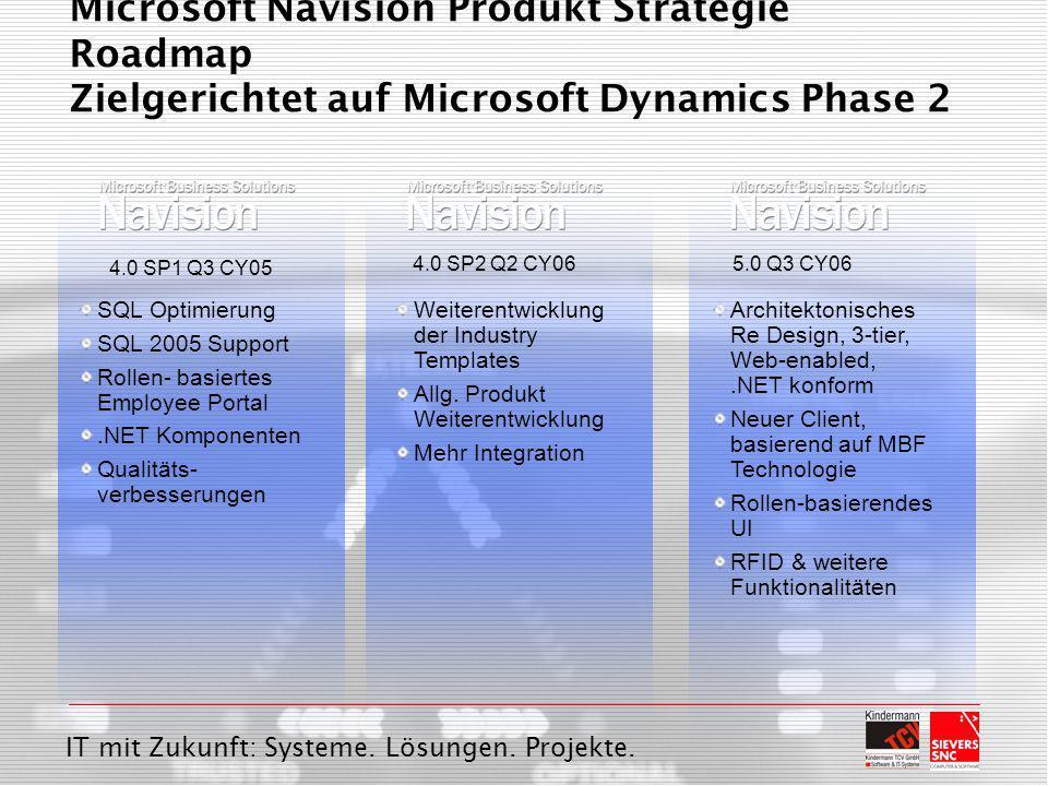 IT mit Zukunft: Systeme. Lösungen. Projekte. Microsoft Navision Produkt Strategie Roadmap Zielgerichtet auf Microsoft Dynamics Phase 2 SQL Optimierung