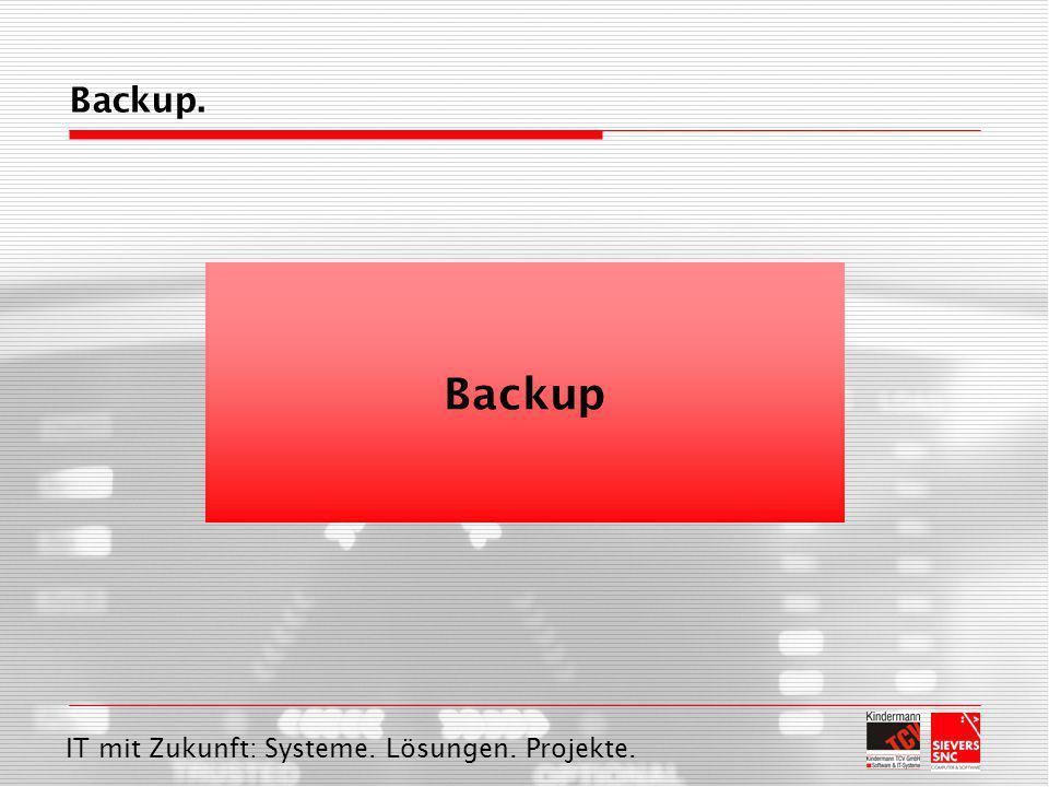 IT mit Zukunft: Systeme. Lösungen. Projekte. Backup Backup.