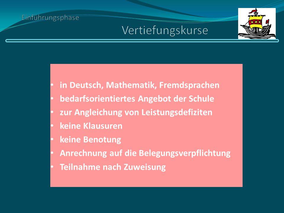 in Deutsch, Mathematik, Fremdsprachen bedarfsorientiertes Angebot der Schule zur Angleichung von Leistungsdefiziten keine Klausuren keine Benotung Anr