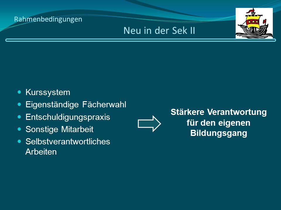 Rahmenbedingungen Neu in der Sek II Kurssystem Eigenständige Fächerwahl Entschuldigungspraxis Sonstige Mitarbeit Selbstverantwortliches Arbeiten Stärk