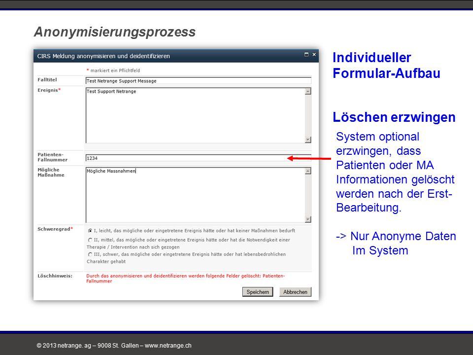 © 2013 netrange. ag – 9008 St. Gallen – www.netrange.ch Individueller Formular-Aufbau Anonymisierungsprozess System optional erzwingen, dass Patienten