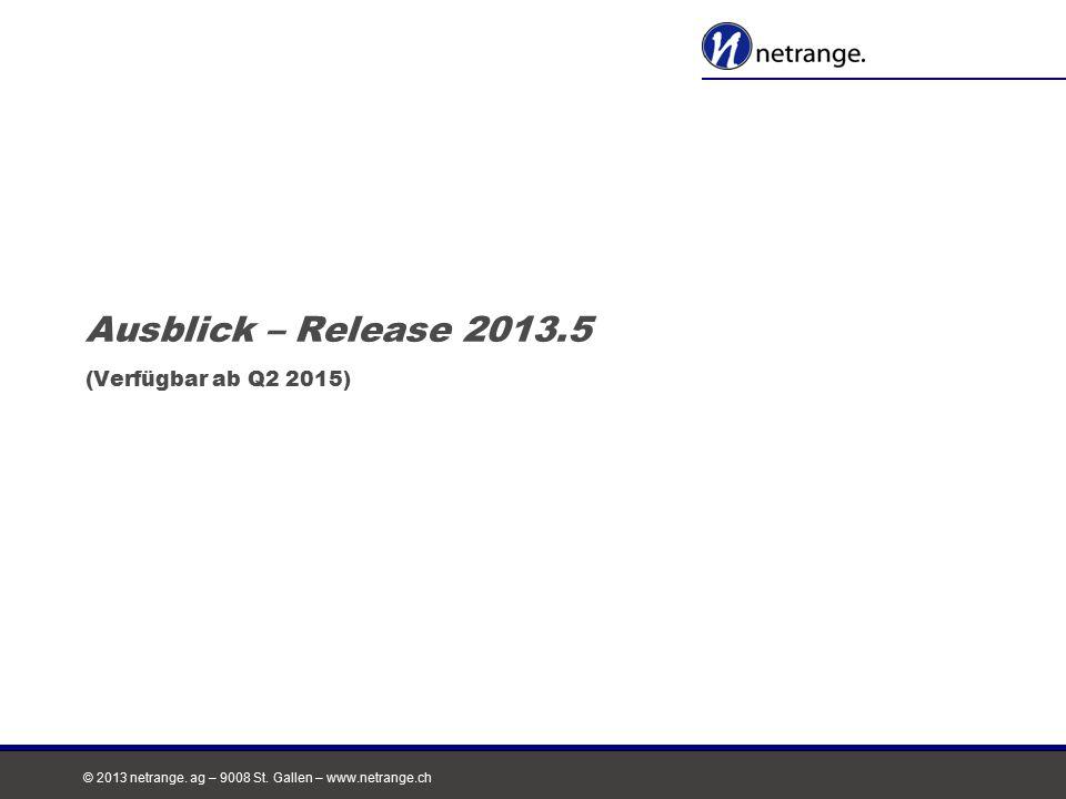 © 2013 netrange. ag – 9008 St. Gallen – www.netrange.ch Ausblick – Release 2013.5 (Verfügbar ab Q2 2015)