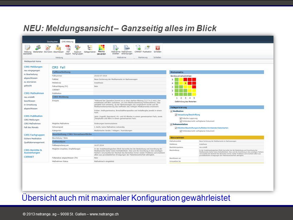 © 2013 netrange. ag – 9008 St. Gallen – www.netrange.ch NEU: Meldungsansicht – Ganzseitig alles im Blick CIRS Fall Risikomatrix Kategorisierung Massna