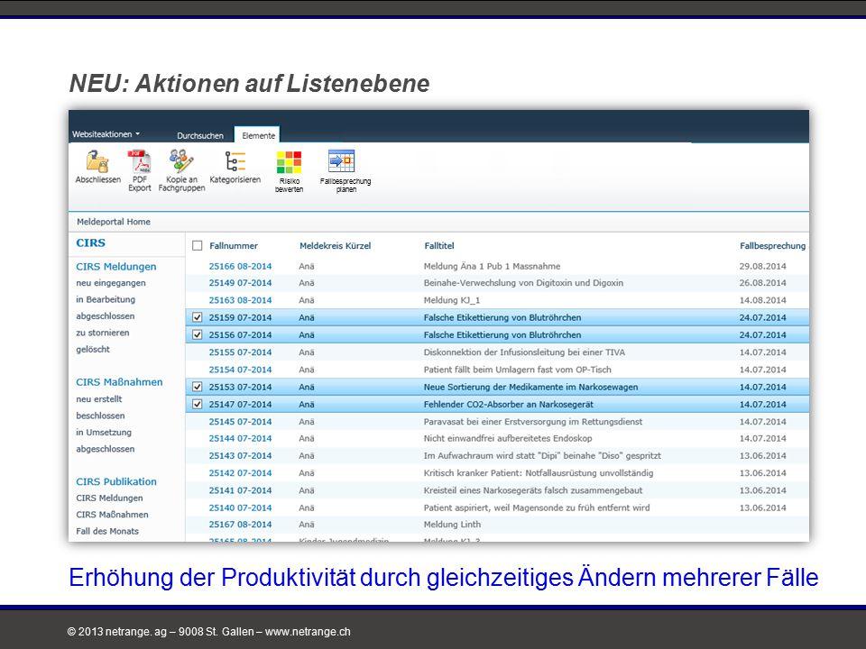 © 2013 netrange. ag – 9008 St. Gallen – www.netrange.ch NEU: Aktionen auf Listenebene Risiko bewerten Fallbesprechung planen Erhöhung der Produktivitä