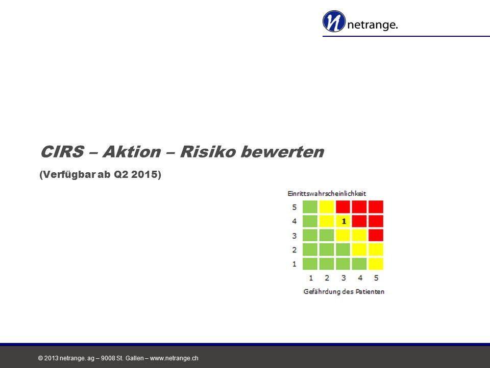 © 2013 netrange. ag – 9008 St. Gallen – www.netrange.ch CIRS – Aktion – Risiko bewerten (Verfügbar ab Q2 2015)