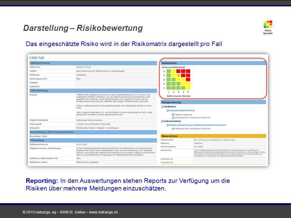 © 2013 netrange. ag – 9008 St. Gallen – www.netrange.ch Darstellung – Risikobewertung Risiko bewerten Das eingeschätzte Risiko wird in der Risikomatri